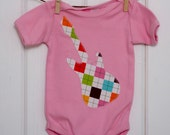 SALE // Baby Girls Clothing // Girls Pink Bodysuit with an Argyle Guitar Applique // Size 6-12 months // Baby Girl Clothes