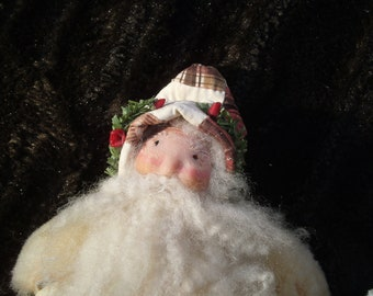 Vintage Santa Quilted Coat Wool Beard ST Nicholas Father Christmas OOAK