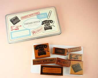 Office supply rubber stamp set