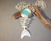 Aqua Sea Glass Fish Necklace