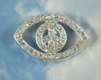 Peace Sign Eye Crystal AB Rhinestone Bead 30mm Encrusted & Silver -  BLING (P1000)