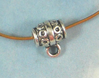 10 Barrel Hanger Beads Ring Sliders Circles & Lines Antiqued Silver Tone Bails (P995)