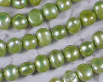 Peridot Pearls 7mm Baroque Potato Green Side Drilled FULL Strand (4216)