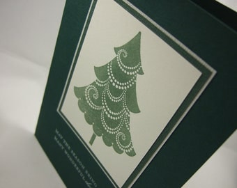 SALE - Hand-stamped Christmas Tree Card