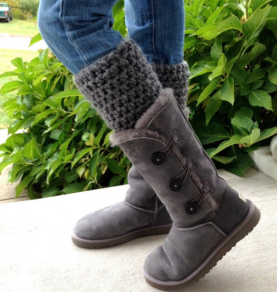 Crochet Leg Warmers Boot Cuffs For Uggs Charcoal Gray