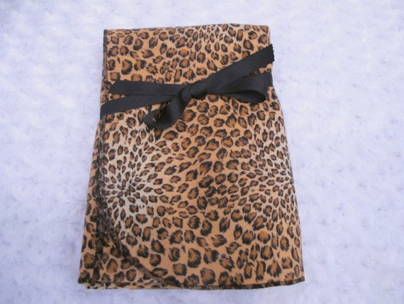 Extra-Large Receiving/Swaddling Blanket with Brown and Black  Animal Print