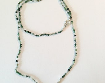 moss green agate gemstone beaded faceted sterling silver necklace