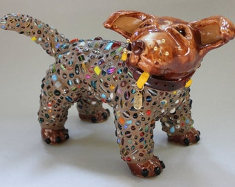 CHOPPER - ON SALE - Mosaic Pit Bull Dog Sculpture - Custom Pieces Available Upon Request