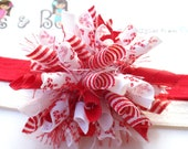 Candy Canes Peppermint Swirls Boutique Baby Girl Korker Hair Bow Shimmery Elastic Headband