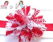 Peppermint Sticks n Swirls Candy Cane Boutique Baby Girl Korker Hair Bow Shimmery Elastic Headband
