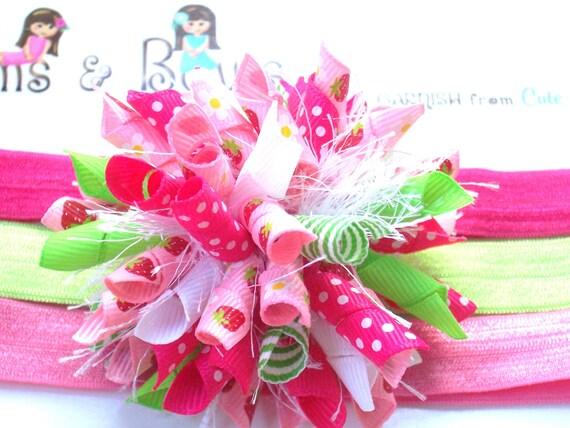 Strawberry Shortcake Inspired Boutique Baby Girl Korker Hair Bow Shimmery Elastic Headband