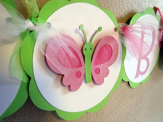 Butterfly Party Banner  and Napkin Rings - Reserved for HAJERHABEEB