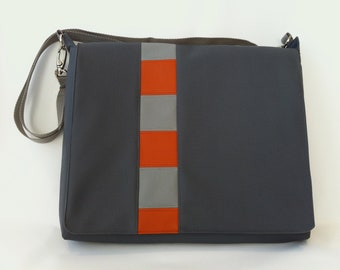 SALE Laptop/Messenger Bag in Orange and Gray Free US Shipping