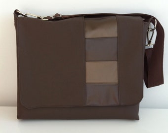 SALE - Laptop/Messenger Bag with Brown Block Stripe Design - Free US Shipping