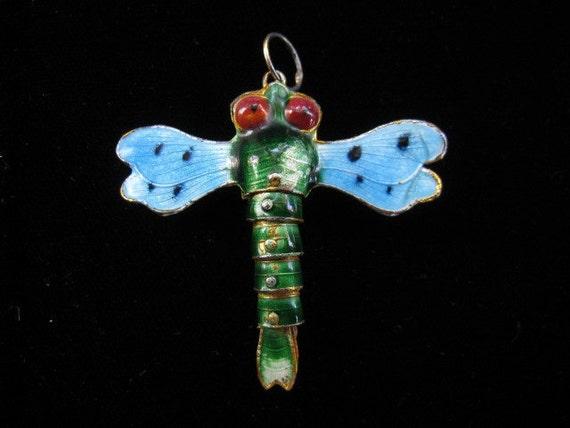 Vintage Dragonfly Pendant Enamel Dangling Articulated