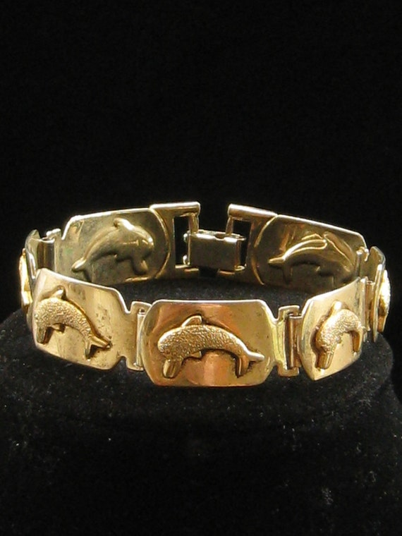 Vintage Gold Tone Metal Dolphin Link Bracelet 1960s