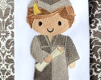Boy Graduate, INSTANT DIGITAL DOWNLOAD, Graduation Embroidery Design for Machine Embroidery 5x7