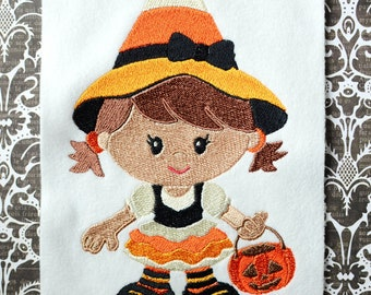 Candy Corn Witch, INSTANT DIGITAL DOWNLOAD, Halloween Embroidery Design for Machine Embroidery 5x7