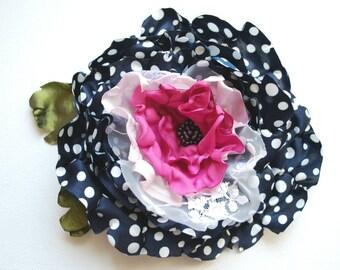 polka dots satin flower, navy blue pink bridal hair flower, weddings accessories, bridal bridesmaids head piece, brooch, photo prop