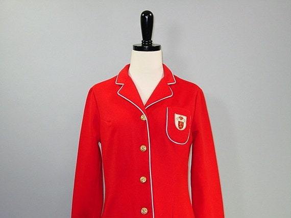 1960s Prep SCHOOL GIRL Blazer / Red Fitted Crest Jacket / White Piping / s-m