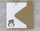 Hoot Owl Cute Letterpress Note Card Set - Mocha Dark Brown - Summer, Autumn, 10 pack (NHL01)