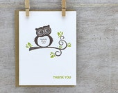 Owl Thank You Letterpress Greeting Card Set - Hoot Owl, Tree Branch, Wood Grain, Chartreuse Green 3 pack (GTY02)