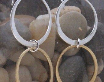 Serling Silver And Brass Double Hoop Dangle earring
