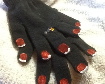 Hand painted gloves with bling