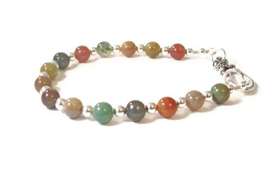 Fancy Jade and Sterling Silver Beaded Bracelet, Stone Bead Bracelet, Semi Precious Stone Bracelet, Handmade Jewelry