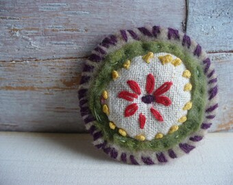 Vintage Embroidery Brooch Handmade 1940s Upcycled Linen