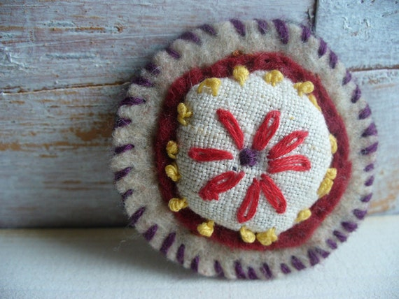 Vintage Christmas Felt Brooch Embroidery Holiday Gift Her