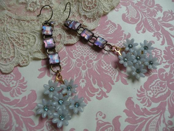 BLUEBELLS vintage assemblage earrings unique ooak shabby chic darling old garden fresh feminine