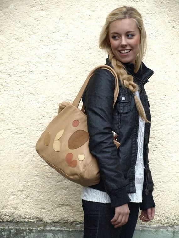 Leather Tote, Tan Leather Tote, Leather Bag, Handbag, Shoulder Bag, urban tote, Spring Fashion