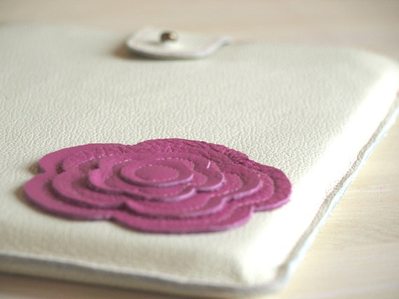 Leather iPad Case Retro Modern Floral Applique Pink Flambe iPad Mini