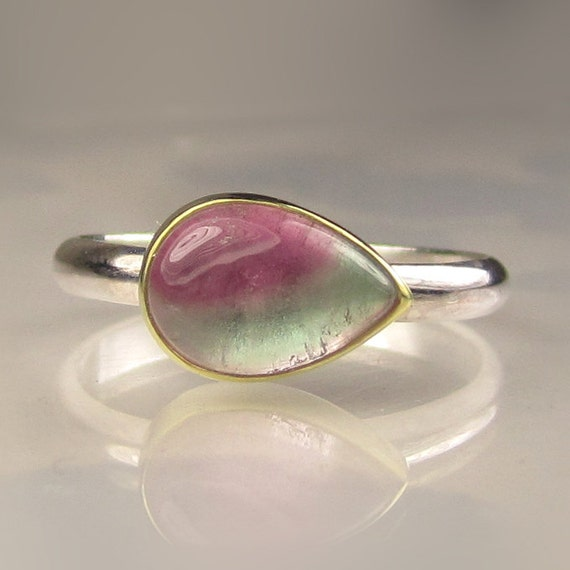 Watermelon Tourmaline Ring  - 18k Gold and Sterling Silver - Made to Order