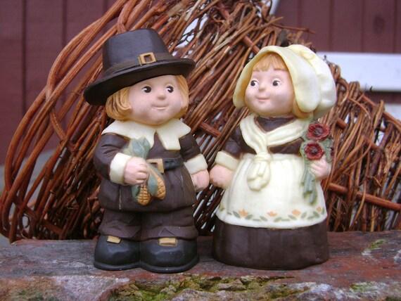 Vintage Salt And Pepper Shakers Set Pilgrim Couple Hallmark