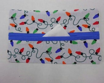 Holiday Lights Tissue Cozy/Gift Card Holder (blue lining)/Party Favor/Wedding Favor