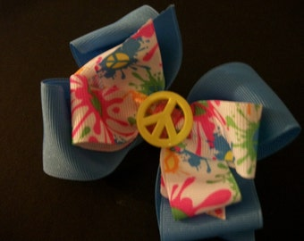 Neon, Boutique Hair Bow, Hot Pink, Neon Green, Neon Blue, Yellow, with Peace Sign Button