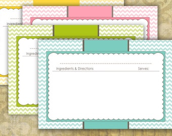 Chevron Recipe Cards 4x6 Typeable pdf - instant download - no. 848