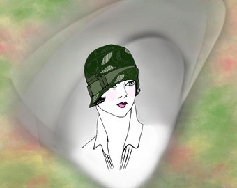 20s Easy to make Flapper Hat of Heavy Cotton Downton Abbey, Gatsby, Miss Fishers Mysteries