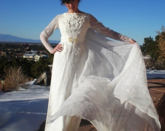 ON SALE Vintage 1960s Wedding Dress By Bridallure Inc Incredible Mid Century Bridal Gown Size S/Xs