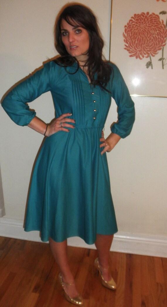 Peacock Green Long Sleeve Secretary Dress by Sandy Petites S/M