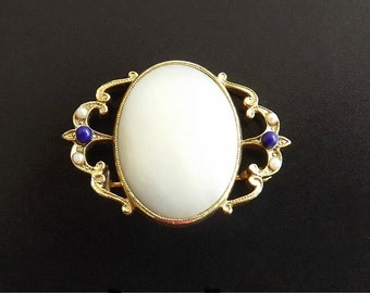 Vintage Brooch Mother of Pearl Rhinestones Retro 1960 Victorian Style Costume Jewelry
