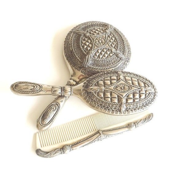 Vintage Vanity Set Comb Mirror Hairbrush Brush Silver Plate