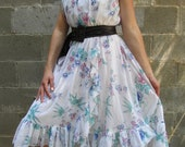 Viva Mexico Pretty Fluffy Ruffle White Floral Day Dress