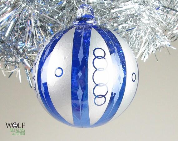 Blown Glass Christmas Tree Ornament Signature Series Sapphire Blue Retro Silver Stripe Chain Etch
