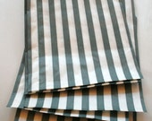 Set of 25 - Traditional Sweet Shop Grey Stripe Paper Bags - 7 x 9 New Style