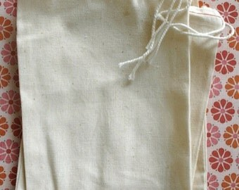 BLANK Cotton Cloth Drawstring Bags - 8 x 12 Inches - for Stamping - Wedding Favors, Gift Bags, Packaging - set of 25