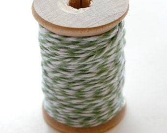 Baker's Twine - 20 Yards - Seaweed - Sage Green - 4 Ply Twine on Wooden Spool