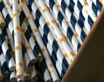 QTY 60 Paper Straws in Sturdy Box - Starry Night Mix - Editable DIY Tags PDF